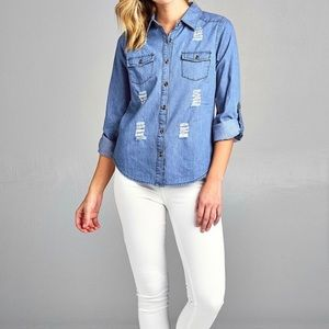 Tops - Distressed Light Denim Shirt